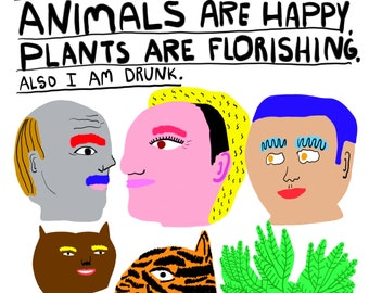Art, Humor, Animals, Writing, Poster, Quirky, Plants, Unique Wall Art, Colorful, The World is Beautiful- Fine Art Print
