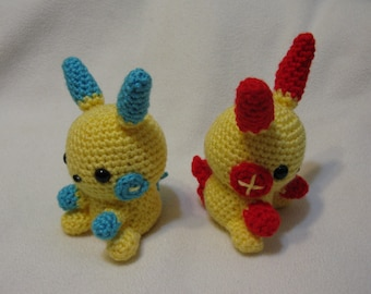 Chibi Plusle AND Minun set amigurumi plush