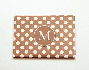 Monogram pocket mirror, Large Pocket mirror, Polka Dot, Purse mirror, rectangle mirror, Gift for her, Personalized Gift, Mothers Day (5501)