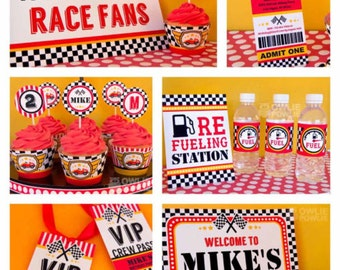 Race Car BIRTHDAY Party Printable Package & Invitation, INSTANT DOWNLOAD, You Edit Yourself with Adobe Reader