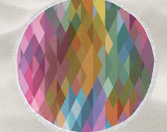 Rainbow Prism over-sized round beach towel