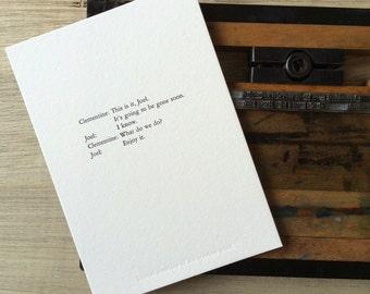 Letterpress typeset print - eternal sunshine of the spotless mind 1/3