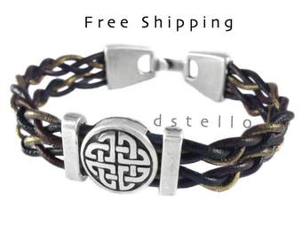 Fathers day gifts, Celtic jewelry, celtic bracelet, Anniversary gifts - celtic leather bracelet for him / her, irish, tribal, love knot cuff