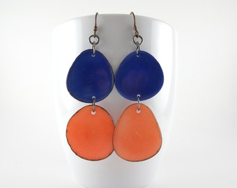 Cobalt and Apricot Tagua Nut Eco Friendly Earrings with Free USA Shipping #taguanut #ecofriendlyjewelry