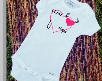 I love Papa Hunting Fishing/Onesie/Custom/Personalized/Gift