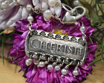 Silver pearls cherished charm anniversary birthday graduation mother's day gift for her vegan christian