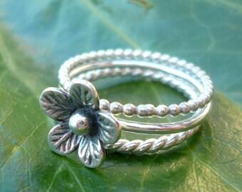 Sterling Silver Flower Stacking Ring Set