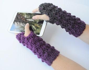 Gray & Purple Faux Bobble Fingerless Gloves, Crochet Gloves, Writing Gloves, Wrist Warmers, Reading Gloves
