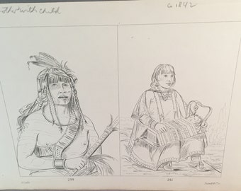 Vintage George Catlin Sioux Warriors Black and White Numbered Plate, Native American ,Tosswill & Co. Indians of North America, *USA ONLY*