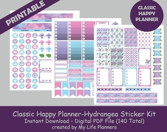 CLASSIC Happy Planner Printable Stickers,  Hydrangea Weekly Kit, Planner Stickers, CLASSIC Happy Planner, Instant PDF Download