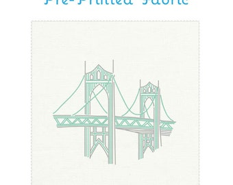ST JOHNS BRIDGE embroidery fabric, pre-printed embroidery fabric, embroidery design, Portland embroidery pattern by Studiomme