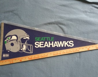 Vintage Seattle Seahawks 1980s 2-Bar Helmet Pennant - Mint/With Sleeve - Free Shipping!
