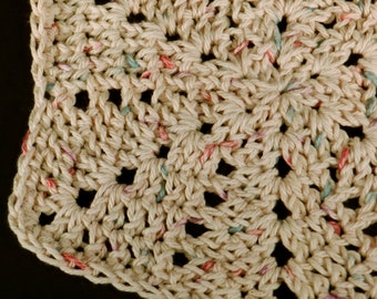 Cotton Dishcloth, Crocheted Dishrag, Beige Cleaning Cloth, Kitchen Cleaning, Eco Friendly Cleaning