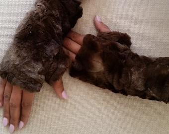 Brown Faux Fur Half Mittens, Lined Fingerless Gloves