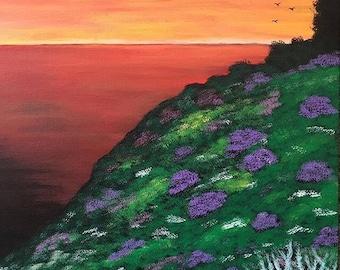 Sunset.Acrylic on canvas panel painting .51cm x 41 cm
