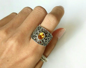 Vintage ring sterling silver citrine marcasite wide band 925 size 7.5
