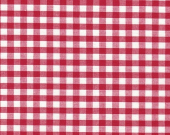 Carly RED Mini Checkered Gingham Poly Cotton Fabric by the Yard - 10114