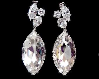 Wedding Jewelry, Wedding Earrings, Large Bridal Chandelier Swarovski Crystal Cubic Zirconia Marquis Drop Earrings -140