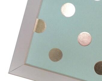 Magnetic Memo Board - Magnet Board - Dry Erase Board - Wall Decor - Housewares - Framed Memo Board -Aqua Polka Dot Design - includes magnets