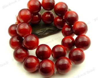 Light Red to Burgundy Round Glass Beads - 12mm Smooth Mottled Painted Beads, Shiny Colorful Bohemian Beads - 17pcs - BL20
