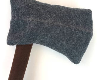 Discounted - Stuffed Hatchet, Felt Ax, Toy Axe, Pretend Camping, Lumberjack Party, TeePee, Campfire Accessory, Ready to Ship