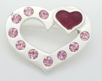 Vintage Red & Pink Rhinestone Silvery White Heart Valentine's Brooch - Old Stock, New Condition