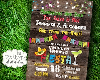 Fiesta Couples Shower Invitation, Mexican party Invite, Printable Digital Invitation, A358