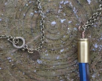 Blue Titanium Quartz Crystal 9mm Bullet Casing L0023