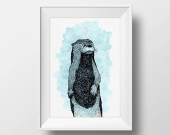Otter print A5 wall art, blue watercolor and ink, interior wall art, nature print