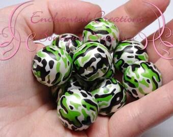 20mm Green, Black and White Camo Print Beads, Print Bubblegum Bead, Gumball Beads, Printed Beads, Chunky Beads, Large Jewelry Beads