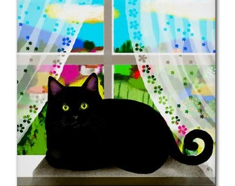 BLACK CAT Window Art Ceramic Tile Coaster