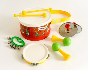 Vintage 1979 Fisher Price Marching Band #921 Missing Harmonica, Play Pretend Sound Musical Toy Instruments