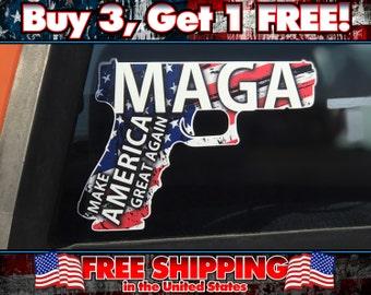 Make America Great Again Gun Bumper Sticker!
