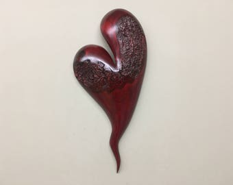 Heart Myrtle wood red Valentines Day gift wood anniversary present