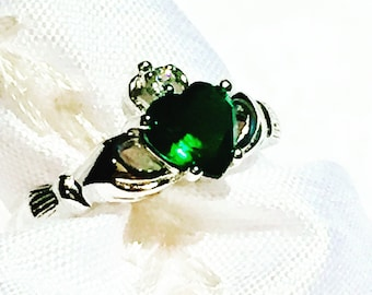 Emerald Claddagh Ring In Sterling Silver, Handmade Jewelry By NorthCoastCottage Jewelry Design & Vintage Treasures