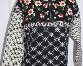 Vintage COLDWATER CREEK Nordic Short Zip Pullover Sweater Sz Small