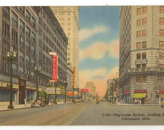 Linen Postcard, Cleveland, Ohio, Playhouse Square, Looking East, ca 1940
