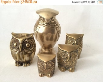 ON SALE Vintage Mid Century Hollywood Regency Brass Owl Collection