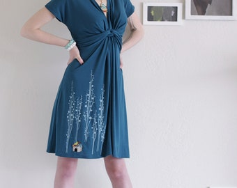 Gift for her, Summer dress, applique dress, Midi dress,Teal Blue Knee length V-neck Party Dress, Jersey dress- Surrounded by big trees
