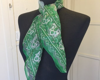 Green Scarf, Vintage Sheer Nylon Scarf, Kelly Green Chiffon Scarf, Green Paisley 50's 60's Rockabilly, Pin Up, Green Vegan Scarf