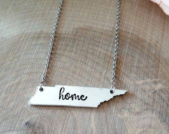 Tennessee necklace, home necklace, Tennessee jewelry, TN necklace, TN jewelry, Tennessee state necklace, Tennessee vols necklace, Nashville