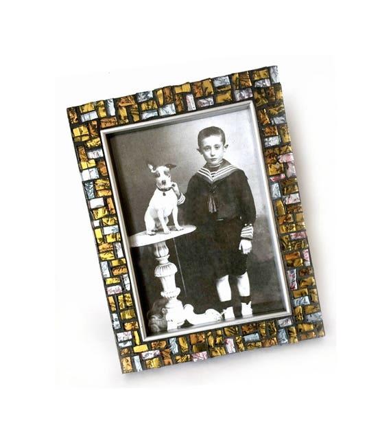Mosaic Picture Frame, Silver Gold Black Mosaic Frame, 5x7 Mosaic Frame, Hand Cut Metallic Glass Mosaic Frame, Metallic Glass Mosaic Frame