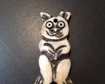 Hand-Carved Bone Bead/Pendant of a Frisky Cat...With Crooked Ears!