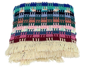 Multicolor Crochet Blanket w/ Fringe - Colorful Throw