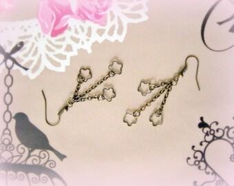 Stars hand made bronze dangle earrings