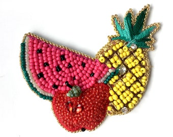 Fruit brooch, Unique brooch, Bead brooch, Apple brooch, Fruit jewelry, Watermelon brooch, Colorful brooch, Huge brooch, Mixed fruit