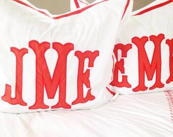 Monogram Applique Sham / Monogrammed Sham / Pillowcase / Bedding