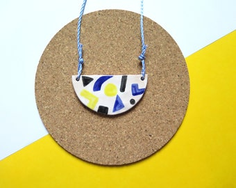 Statement necklace, bib necklace, ceramic necklace, abstract and geometric, memphis design inspired, necklace, colour block necklace