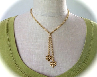 Gold Lariat Celtic Eternity Knot Necklace Outlander Jewelry, Boho Tassel Necklace Irish Jewelry Trinity Love Knot Pendant Gold Rolo Chain