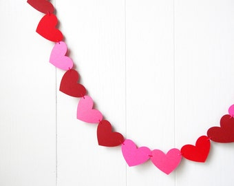 Ready To Ship Hot Pink and Red Heart Garland / Wedding Decoration / Love Bunting / Anniversary Decor / Photo Prop / Adjustable Hand Sewn